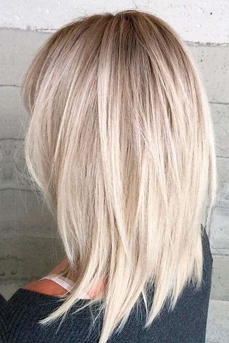 Short Hairtyle for Women with Thick Hair, Blonde Medium Lob Hair