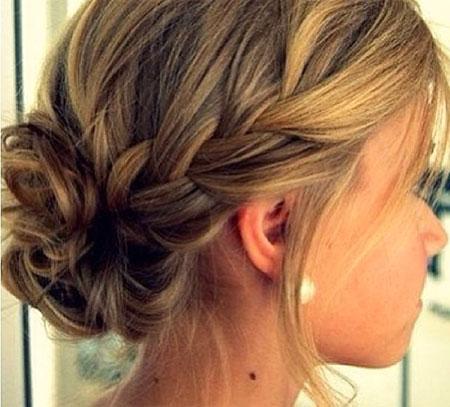 Simple Braid Updo Hairtyle, Updo Hair Bun Bridesmaid