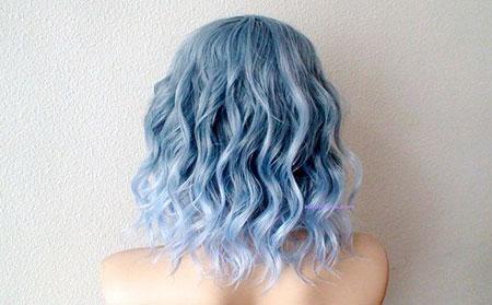 Hair Blue Wavy Pastel