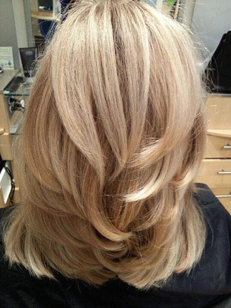 Blonde Layered Hair, Blonde Medium Layers Hair