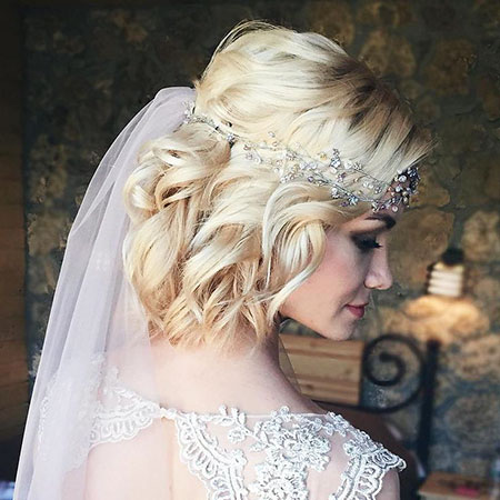 Blonde Bob Hairtyle, Wedding Hair Bridal Hairtyles