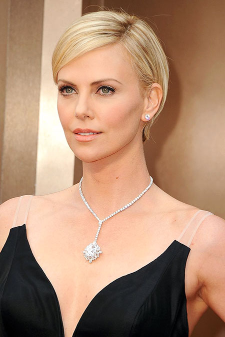 Side Parted Hair, Theron Charlize Short Hair