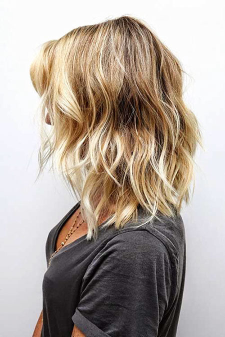 Short Hair with Blonde Highlights, Blonde Wavy Balayage Shoulder