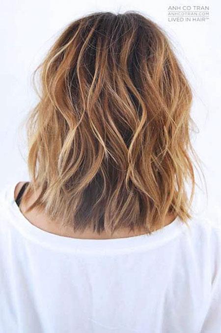 Beach Waves Short Hair, Choppy Brown Balayage Wavy