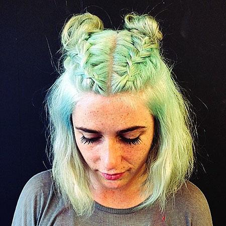 Pastel Green Hair Color, Hair Makeup Halloween Short
