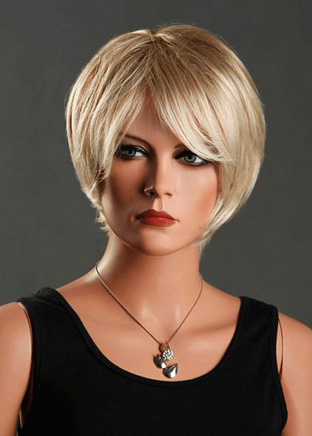 Side Bangs        , Short Hair Women Wig