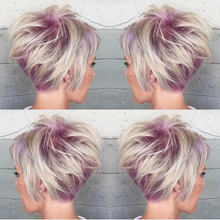 Purple Roots and Gray Hair, Pixie Short Sassy Nape