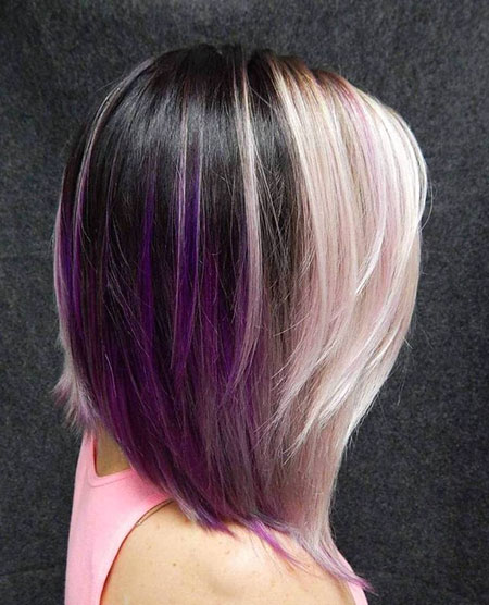 Purple Bob Layered Highlights