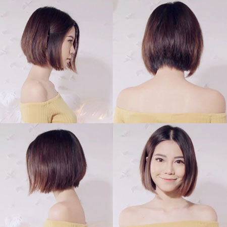 Asian Short Hairtyles, Short Bob Korean Brunette