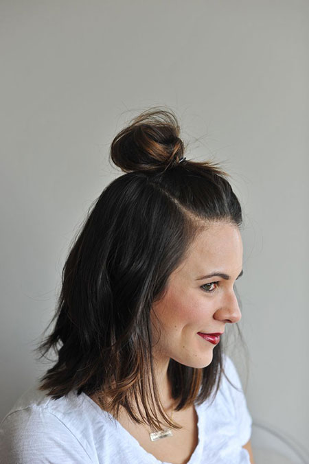 Easy Hairtyles for Short Hair, Short Bun Knot Half