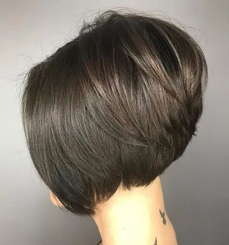 Layered Brunette Bob Short