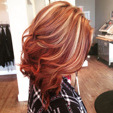 Hair Red Blonde Highlights