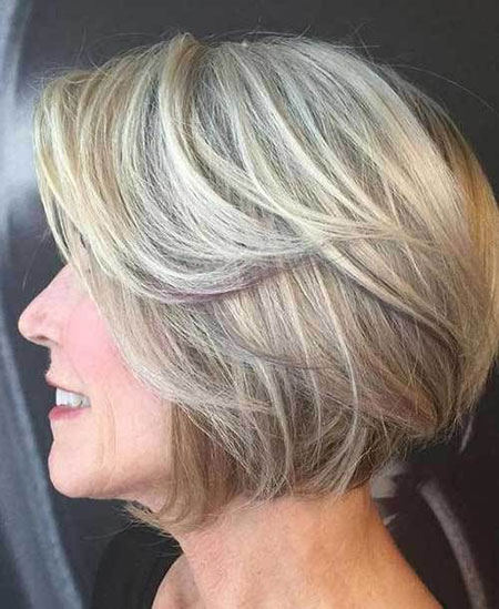 Bob Blonde Balayage Older