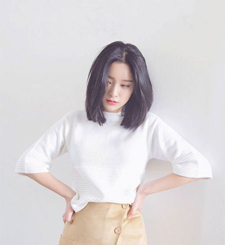 Shoulder Length Haircut, Korean Top Shirt Tee