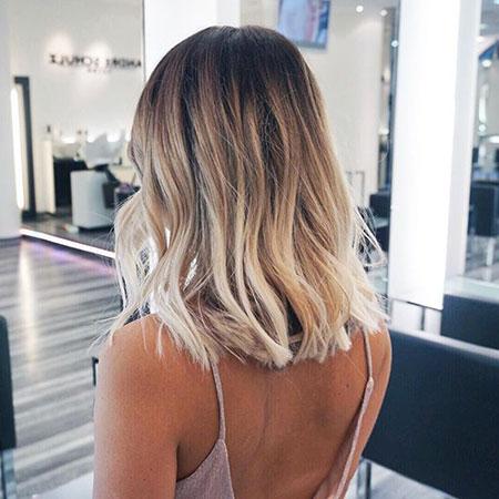 Medium Bob Hair, Blonde Balayage Ombre Short