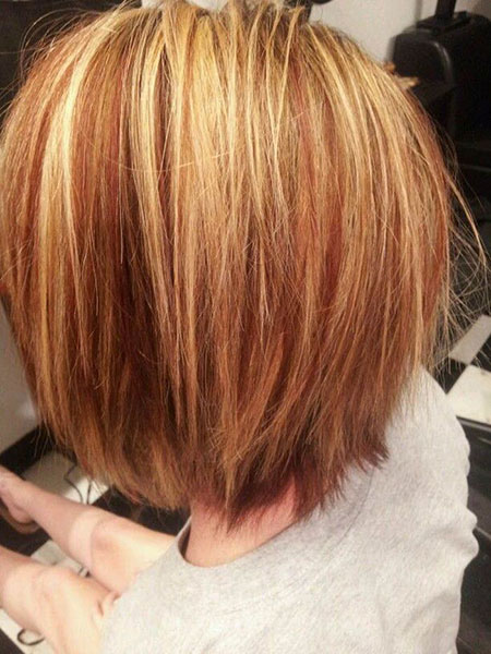 Layered Bob Hair, Red Blonde Bob Lowlights