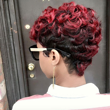 Red Pixie Hair, Short Hair Tapered Color
