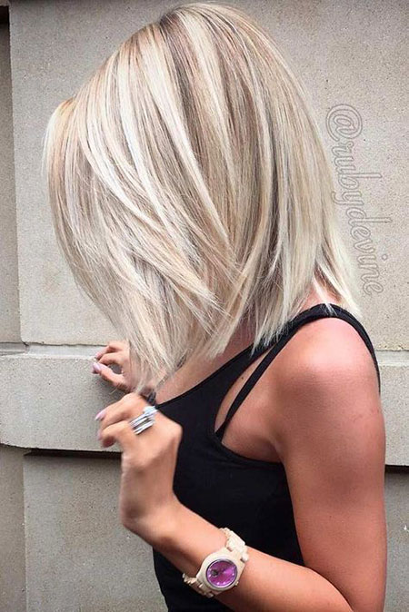 Short to Medium Hairtyles for Thick Hair, Blonde Balayage Length Bob