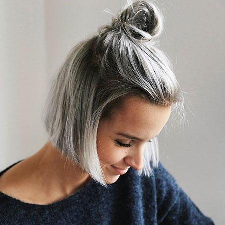 Short Grey Hairtyle, Short Balayage Grey Hair
