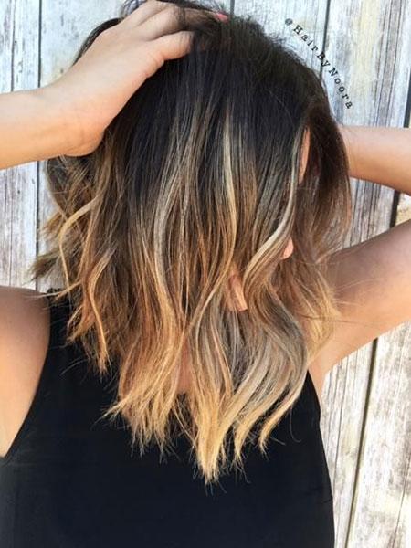 Hair Balayage Lob Brunette