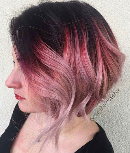 Hair Pink Gold Balayage