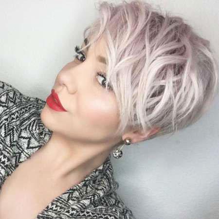 Silver Wavy Short Hair