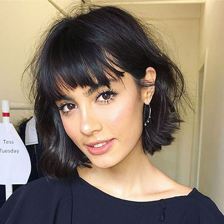 Dark Bob, Bangs Shag Hair Short