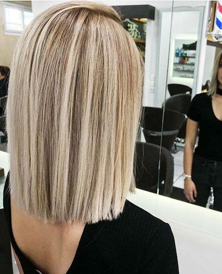 Blunt Lob, Blonde Blunt Balayage Hair