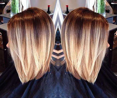 Straight Long Bob, Hair Blonde Short Ombre