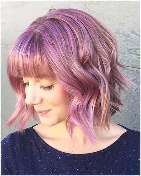 Hair Pink Bob Bangs