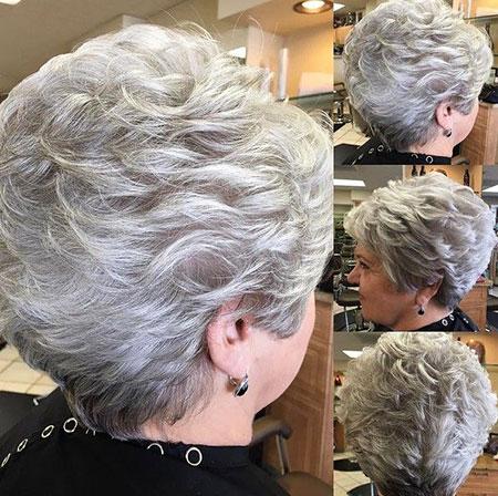 Women Gray Short Hairtyle