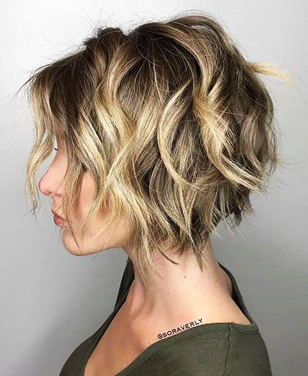 Blonde Wavy Choppy Bob
