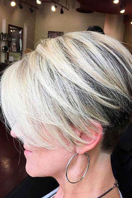 Blonde Women Silver Highlights