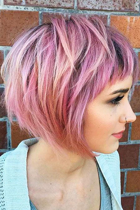 Hair Bob Layered Purple