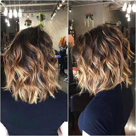 Curly Wavy, Hair Short Styles Balayage