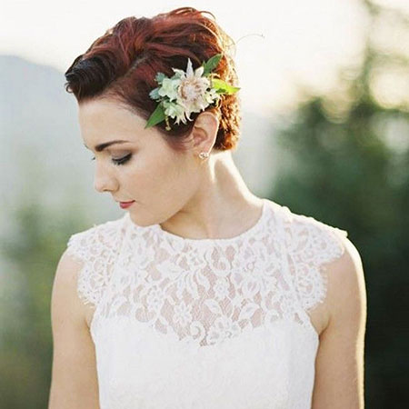 Very Short Wedding Hair Style, Wedding Bridal Flower Hair