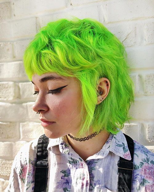 Green Color And Short Hair