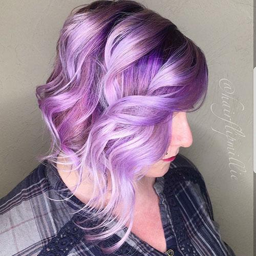 Purple Hair Short Cut